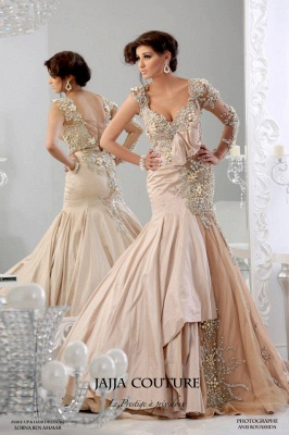 New Sexy Mermaid Arabic Prom Dresses Backless Sheer One Shoulder Taffeta Evening Gowns With Long Sleeves & Beaded Appliq_3