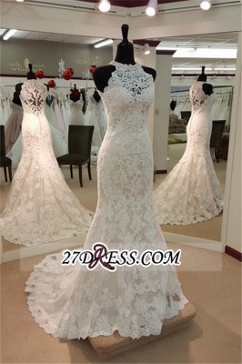 Sleeveless Buttons Court-Train Elegant Mermaid Lace Wedding Dresses_2