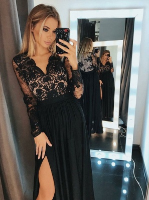 Newest Black Lace V-neck Prom Dress | Long Sleeve Formal Dress with Split BC0417_2