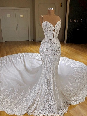 Charming Spaghetti Straps Lace Appliques Bridal Gowns | Mermaid Sleeveless 2020 Wedding Dress_3