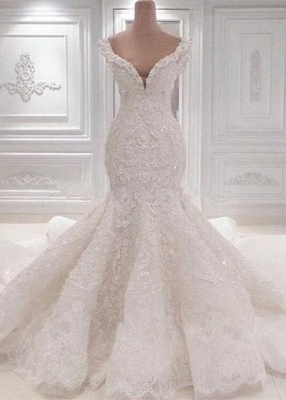 Luxurious Off-the-Shoulder Mermaid Wedding Dresses   2020 Lace Appliques Bridal Gowns On Sale BC0221_1