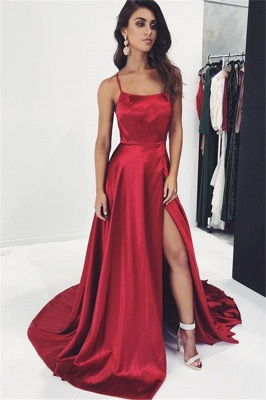 Sexy Spaghetti-Straps A-Line Prom Gown | Burgundy Side-Slit Sleeveless Prom Dress BC1971_2