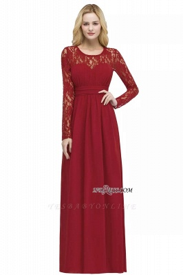 Length Floor Sleeves Long Lace A-line Chiffon Bridesmaid_1