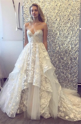 Beautiful Sweetheart Wedding Dress | 2020 Lace Appliques Princess Bridal Gowns_1