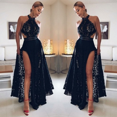 Sexy Halter Black Prom Gowns | 2020 Lace Evening Dress With Slit BC0162_2