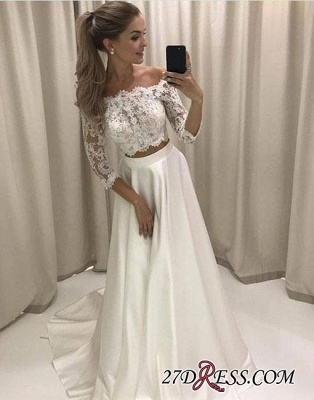 Two-pieces White Sweep-train Lace Off-the-shoulder Evening Dress BA7423_1
