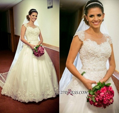 2020 Cap-Sleeve Lace Tulle Ball Appliques Jewel Crystal-Belt Princess Gown Wedding Dres_2