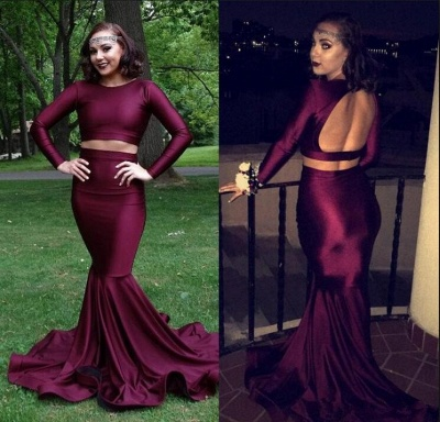 Burgundy two piece prom dress, long mermaid evening gowns BA8861_3