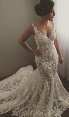 Sexy Sleeveless V-Neck Wedding Dress | Mermaid Bridal Gowns With Lace Appliques_1