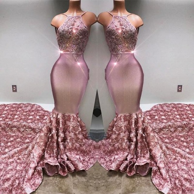 Glamorous Halter Mermaid Pink 2020 Prom Dress Lace With 3D-Floral Flowers Bottom BA7797_3