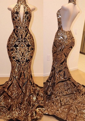 Gorgeous High-Neck Sequins Prom Dress | 2020 Mermaid Backless Evening Gowns_1