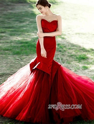 Red Sweetheart Sexy Lace-Up Mermaid Evening Dress_5