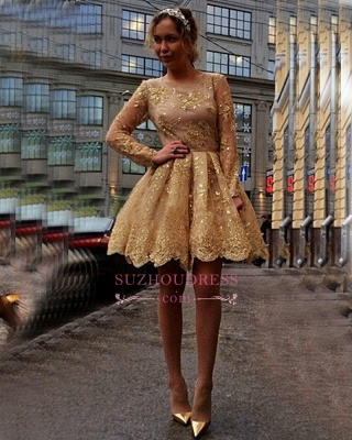Sheer Gold Gorgeous Long-Sleeves Appliques Short Homecoming Dresses_1