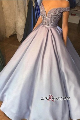 Beading A-line Gray Off-the-shoulder Sweetheart Applique Prom Dress_1