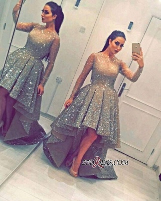 Luxurious Sequins Party Long-Sleeves Beadings Hi-Lo Homecoming Prom Dress BA3735_1
