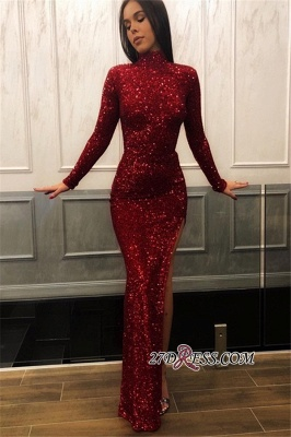 Burgundy Long Sleeves Sequins Evening Dresses | Cheap High Neck Slit Side Prom Dresses BC1372_1