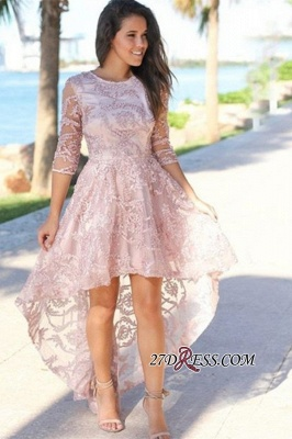 Lace A-line Hi-lo Beautiful Jewel Prom Dresses_1