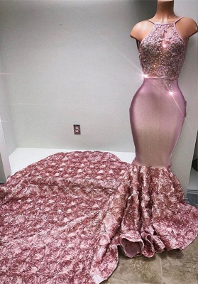 Glamorous Halter Mermaid Pink 2020 Prom Dress Lace With 3D-Floral Flowers Bottom BA7797_5