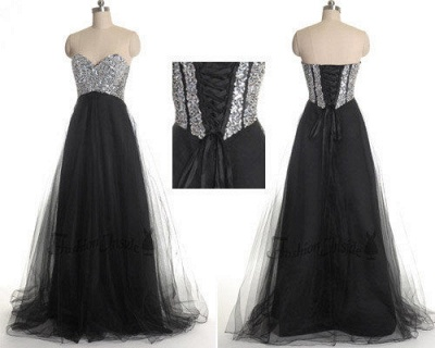 Glamorous Sweetheart Sleeveless Tulle Prom Dress With Sequins_2