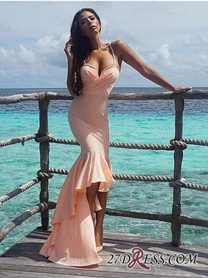 Nude Sweetheart Gorgeous Mermaid Hi-Lo Spaghetti-Starps Prom Dress_4