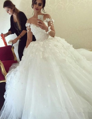 Glamorous Off the Shoulder Ball Gown Wedding Dresses 2020 Tulle_1