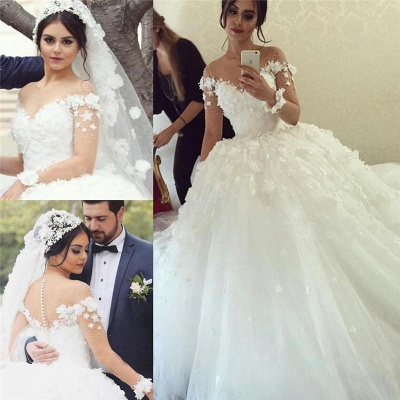Glamorous Off the Shoulder Ball Gown Wedding Dresses 2020 Tulle_3