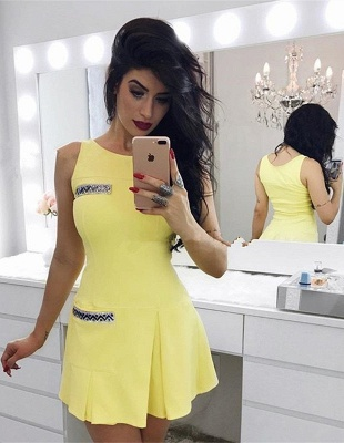 Newest Yellow Crystals Straps Homecoming Dress   Sleeveless Short Party Gown_1