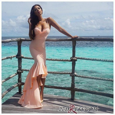 Nude Sweetheart Gorgeous Mermaid Hi-Lo Spaghetti-Starps Prom Dress_1