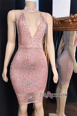 Sequins Short Sheath Spaghetti-Straps Shiny Pink Cocktail Dresses_1