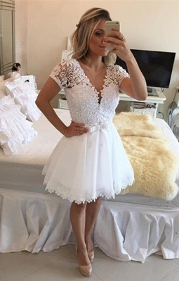 Lovely Short Sleeve White Homecoming Dress 2020 Lace Short Pearls BT0_1