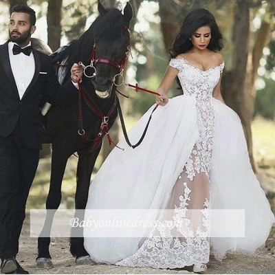 Lace Off-the-Shoulder Gorgeous Sheer Overskirt Detachable Wedding Dresses LY36_1