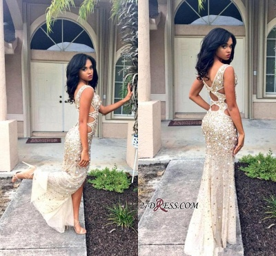 Front-Split Gorgeous Floor-length Crystals Sleeveless V-neck Prom Dress BA4156_1