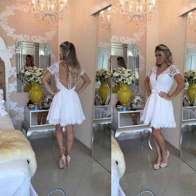 Lovely Short Sleeve White Homecoming Dress 2020 Lace Short Pearls BT0_4