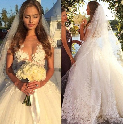Glamorous Cal Sleeve Wedding Dress 2020 3D Floral Appliques Princess Bridal Gowns Tulle_1