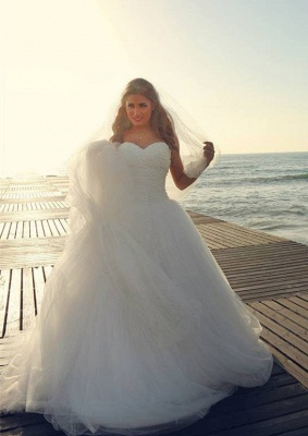Timeless Tulle Beadings White 2020 Wedding Dress Plus Size Lace-up Sweetheart_2