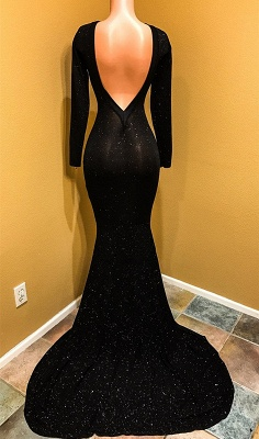 Sexy Black Prom Dress | Long Sleeve Sequins Mermaid Party Dress BC1099_4