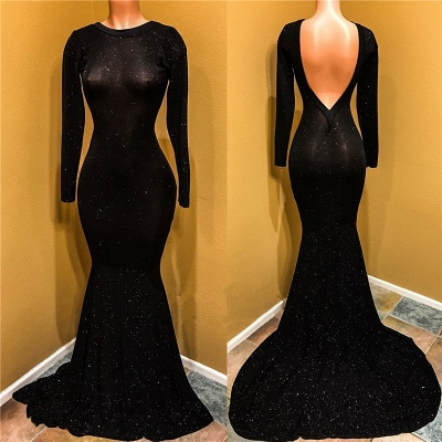 Sexy Black Prom Dress | Long Sleeve Sequins Mermaid Party Dress BC1099_3