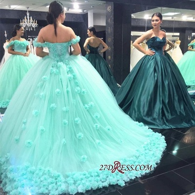 Off-The-Shoulder Cloud Rose-Flowers 2020 Mint-Green Ball-Gown Prom Dresses_2