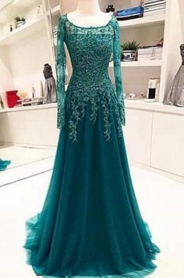 Long-Sleeves Scoop Beaded Appliques Lace A-Line Blue 2020 Evening Dress BA6753_2