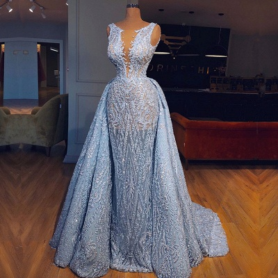 Glamorous Sleeveless Blue Evening Dresses | 2020 Mermaid Ruffles Prom Gowns With Lace BC0373_2