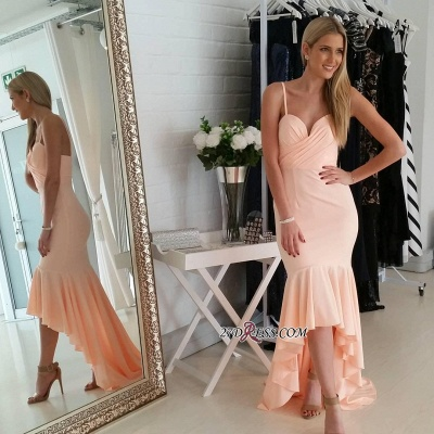 Nude Sweetheart Gorgeous Mermaid Hi-Lo Spaghetti-Starps Prom Dress_2