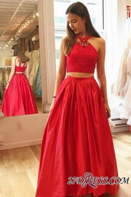 Glamorous Red Halter A-Line Crystal Two-Pieces Prom Dresses_1
