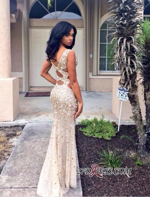 Front-Split Gorgeous Floor-length Crystals Sleeveless V-neck Prom Dress BA4156_2