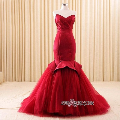 Red Sweetheart Sexy Lace-Up Mermaid Evening Dress_2
