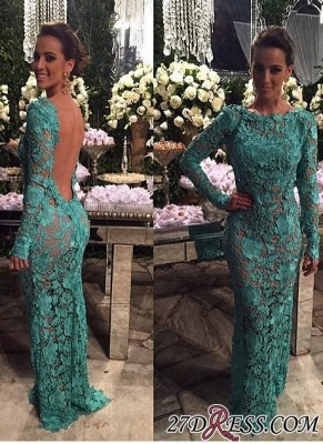 2020 Sheer-Lace Open-Back Mermaid Long-Sleeves Long Evening Gown BA7427_2