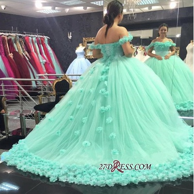 Off-The-Shoulder Cloud Rose-Flowers 2020 Mint-Green Ball-Gown Prom Dresses_1