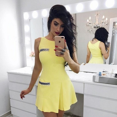 Newest Yellow Crystals Straps Homecoming Dress   Sleeveless Short Party Gown_2