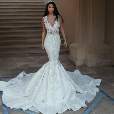 Gorgeous V-Neck Wedding Dress | 2020 Mermaid Lace Bridal Gowns On Sale_3