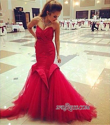 Red Sweetheart Sexy Lace-Up Mermaid Evening Dress_4