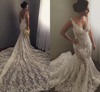 Sexy Sleeveless V-Neck Wedding Dress | Mermaid Bridal Gowns With Lace Appliques_3